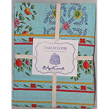 April Cornell Swedish Inspired Petit Fleur Summer Floral Tablecloth 70 in Round Aqua Blue