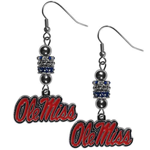 Siskiyou NCAA Mississippi Ole Miss Rebels Womens Euro Bead Earrings