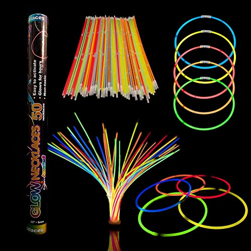Fun Central J6 22 Inch Premium Glow Stick Necklaces, Glow Necklaces Bulk-for Glow in the Dark Party, Birthday, Christmas, Concerts, Anniversary - Assorted Colors
