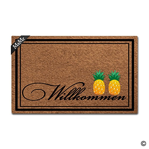 - MsMr Doormat Entrance Floor Mat Willkommen Pineapple Mat Indoor Decorative Home and Office Door Mat 30 by 18 Inch