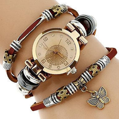- Fashion Watches Genova Platinum Top Women Premium Genuine Leather Watch Triple Bracelet Watch Butterfly Charm Wristwatch Fashion Para Femme ( Color : Brown , Gender : For Lady )