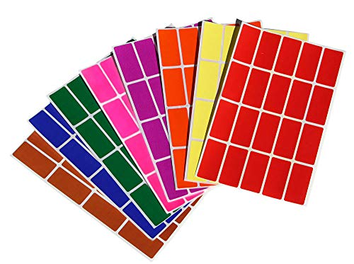 Color Coding Labels Rectangle 1.57inch x 0.75 inch Rectangular Stickers in Red/Green/Yellow/Pink/Purple/Orange/Brown/Blue (40mm x 19mm) by Royal Green 160 Pack
