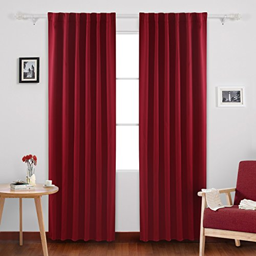 2 Drapes - Deconovo Solid Rod Pocket and Back Tab Curtains Thermal Insulated Window Coverings Blackout Drapes for Bedroom 52x84 Inch Maroon Red Set of 2