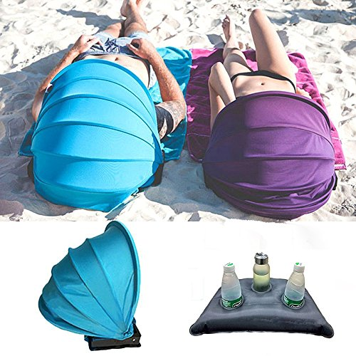 (Mini Light Weight Pillow Tent,Face Sun Beach Shader Protection Tent Face Shade Canopy Tent with Pillow + Beach Mat for Outdoor Beach Sunbathing (Purple))