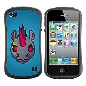 Hybrid Anti-Shock Bumper Case for Apple iPhone 4 4S / Evil Unicorn With Moustache