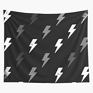 Black Geometric And Biker Dark Pattern Vectorial Lines Thunder White Tapestry Wall Hanging as Wall Art and Home Decor for Bedroom, Living Room, Dorm Decor