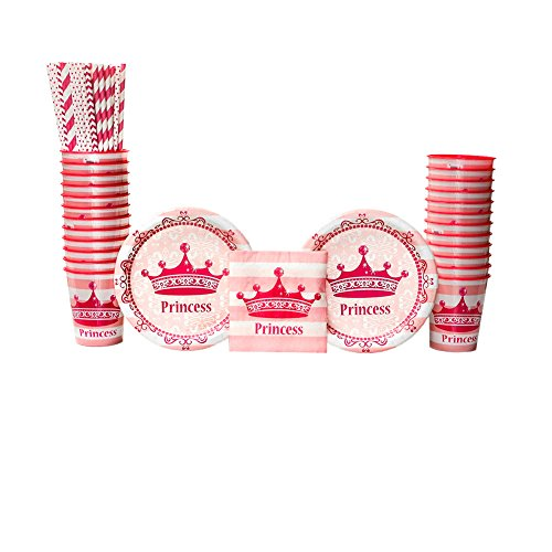 Pink Princess Birthday Party Supplies Party Pack for 16 Guests | Straws, Dessert Plates, Beverage Napkins, and Cups| Celebrate Your Princess' Birthday With This Pink Princess Crown Themed Party Pack