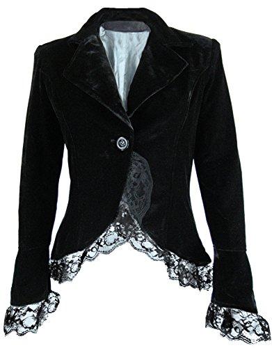 Velvet Passion - Black Victorian Gothic Vintage Style High-Low Lace Corset Jacket (MD) by CSDttT (Image #1)