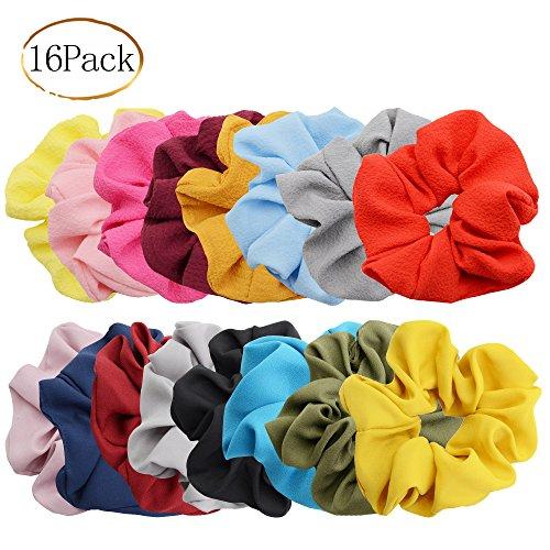 (Chloven 16 Pack Hair Elastics Scrunchies Chiffon Hair Scrunchies Hair Accessories Seersucker Hair Bands Bobbles Hair Ties, Solid Color)