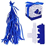 MagiDeal Love Heart Baby Shower Wedding Favours Party Supplies Sweets Gift Candy Boxes Bags with Ribbons Pack of 50 - Dark blue
