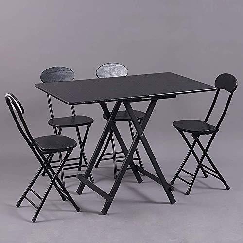 DOCJX Combinacion de Mesa y Silla Plegables de Panel Negro, Mesa de Comedor para el hogar con Estructura de Metal Estable, Mesa y Silla Plegables para Fiestas de Ocio de Patio Alto,Black
