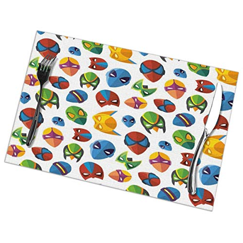 Placemats for Dining Room Kitchen Table Decor,Legendary Cartoon Character Masks Flash Batman Spider-Man Comic Costume Print,Washable Easy to Clean Table Mats Non Slip Placemats Set of 6 12x18 in -