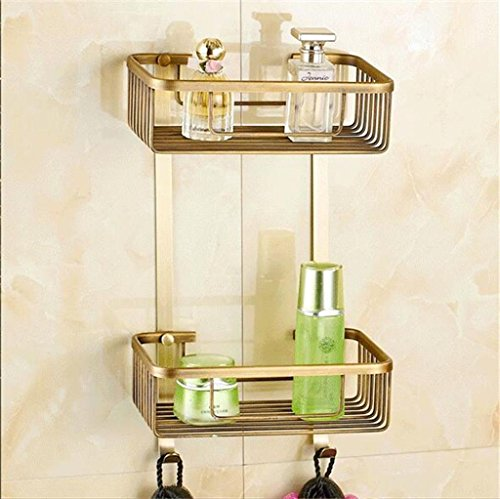 YXWzwj Bathroom shelf Shelves full copper double rose gold antique white paint grilled double bathroom glove angle bracket (Color : D)