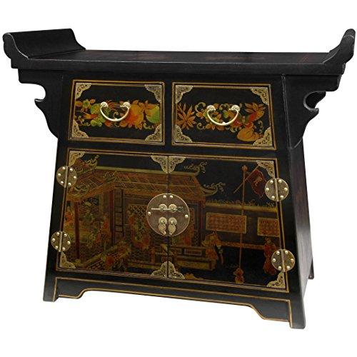 Oriental Furniture Black Lacquer Village Life Altar Cabinet