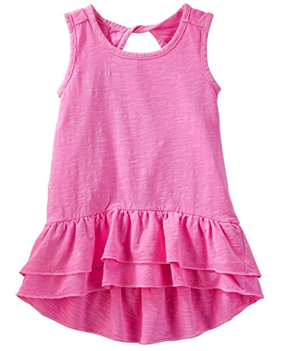 (Osh Kosh Girls' Kids Short-Sleeve Knit Tunic, Raspberry Rose, 7)