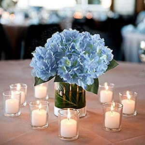 "NAHUAA 16.5"" Artificial Silk Hydrangea Flowers Arrangements Large Fake Floral Bundles Home Wedding Bouquet Table Centerpieces Party Decoration (Tiffany Blue) 2"