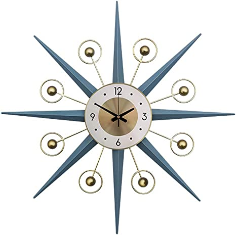 Shisedeco Mid Century Metal Wall Clock Large Starburst Decoration For Home Kitchen Living Room Office Blue 22 Home Kitchen