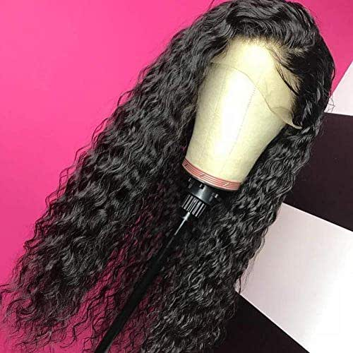 Giannay Glueless Lace Front Wigs for Black Women Long Curly Wigs with Baby Hair Natural Wave Synthetic Wig Heat Resistant Fiber Hair 180% Density Lace Wigs 26 Inch Black Color