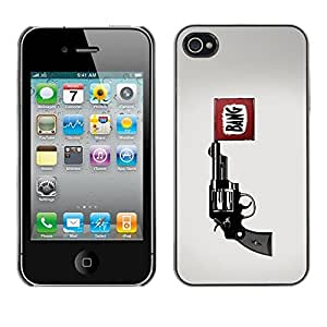 LECELL -- Funda protectora / Cubierta / Piel For Apple iPhone 4 / 4S -- Bang Pistol Gun --
