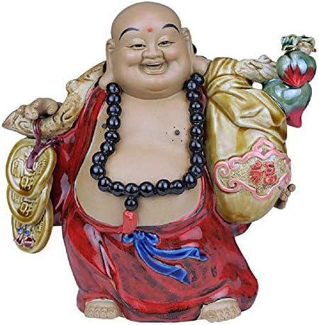 陶磁器風水仏像弥勒菩薩ラッキー笑い仏装飾彫刻オフィスとホームの繁栄