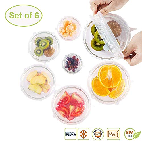 Silicone Stretch Lids, 6 Pack Fit Various Sizes Reusable Flexible Food Covers Keep Fresh for Bowl/Cup/Pot/Dish/Container/Glass FDA Certified Dishwasher/Freezer/Microwave Oven ()