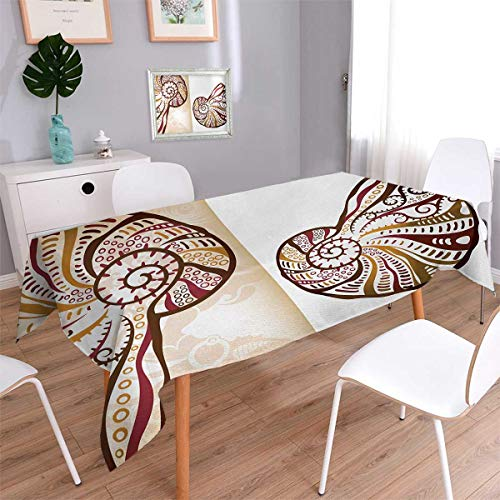 Divided Oblong - Anmaseven Seashells Oblong Patterned Tablecloth Boho Seashells Pattern Divided Two Part Effects Hear the Ocean Creature Dust-proof Oblong Tablecloth Light Brown Cream Size: W54 x L72