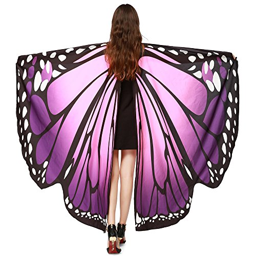 (Women Butterfly Wings Shawl Fairy Halloween Party Prop Lady Nymph Pixie Costume)