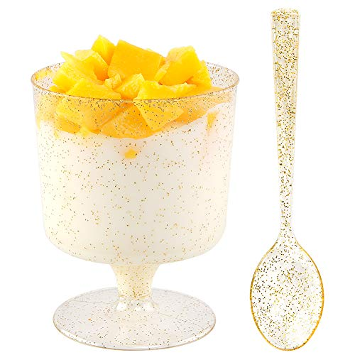 WDF 96PACK 7oz Gold Glitter Medium Large Plastic Dessert Cups With Spoons-48 Disposable Appetizer Cups |Wine Goblet Glasses & 48 Gold Glitter Tasting Spoons