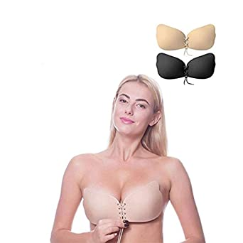 Invisible Adhesive Bra 2 Pack Sticky Bra Reusable Push Up Invisible Women Bra Drawstring Silicone Bras by Aomh