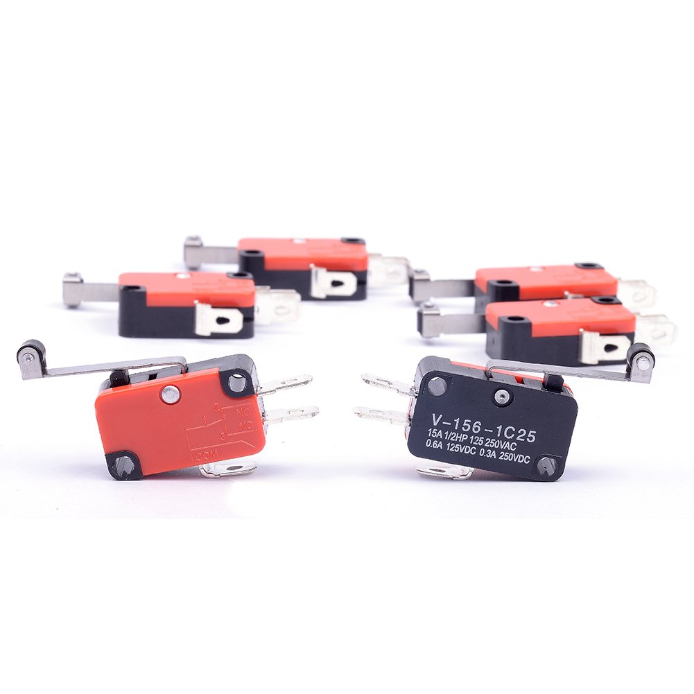 Cylewet 6Pcs V-156-1C25 Micro Limit Switch Long Hinge Roller Momentary SPDT Snap Action for Arduino Pack of 6 CYT1046