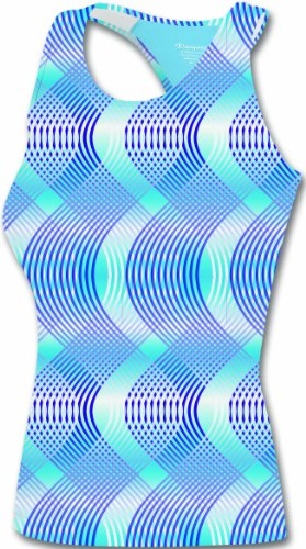 Champion Womens Double Dry Workout Tank, Ocean Blue Swish Print, Medium
