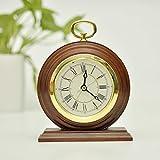 ECVISION Non-Ticking Silent Handmade Wood Alarm Clock Snooze Bedside Alarm Clock Decorative Desk Alarm Clock with Nightlight
