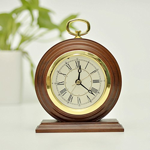 ECVISION Silent Vintage Handmade Wood Alarm Clock Bedside Wooden Table Clock Decorative Desk Alarm Clock with Nightlight And Snooze (Deep Woodgrain)