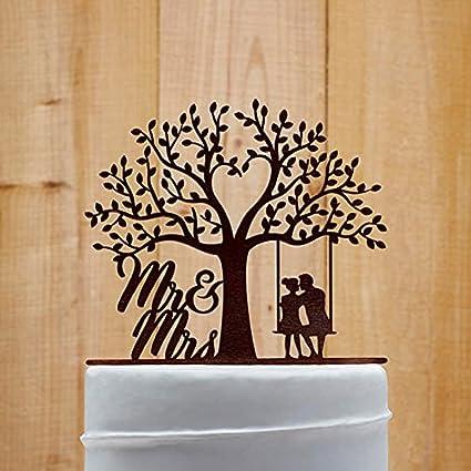 Black Mr /& Mrs Love Tree Nature Acrylic Wedding Day Cake Topper Silhouette
