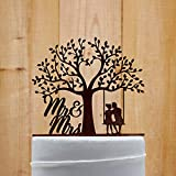 Rustic Wedding Cake Topper Love Tree Mr And Mrs Silhouette Cake Topper Natural Wood Cake Topper