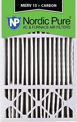 Price comparison product image Nordic Pure 16x25x4 / 16x25x5 (4-3 / 8 Actual Depth) MERV 13 Plus Carbon Honeywell FC100A1029 Replacement Pleated AC Furnace Air Filter,  1 Pack