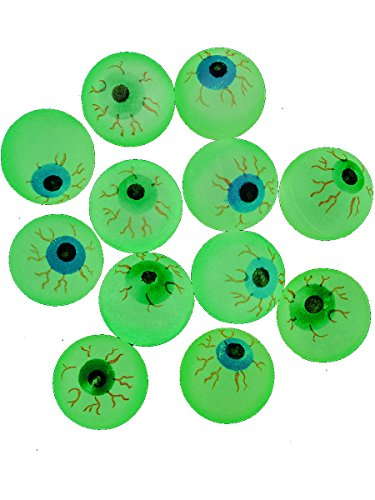 Glow in the Dark Halloween EYE Ball Bouncy Balls 32 Mm Size Eyeballs - 12ct