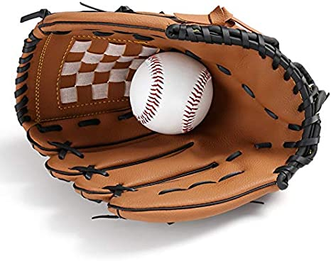 CUHAWUDBA Outdoor Sports 2 Colors Baseball Glove Softball Practice Equipment Right Hand for Adult Woman Train,Brown 11.5 Inch