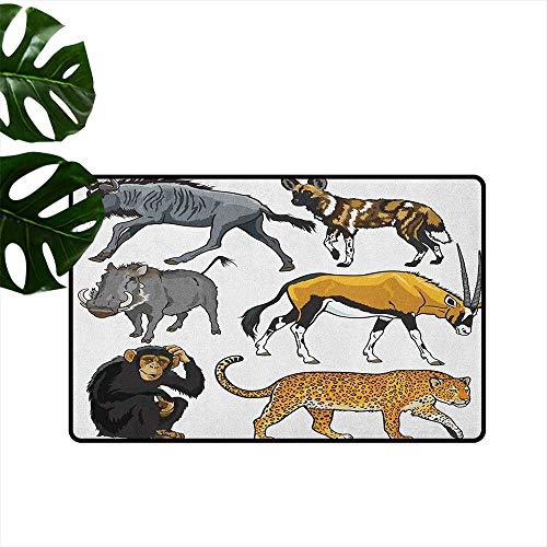 RenteriaDecor Zoo,Entrance Anti-Slip Doormat Collection of Cartoon Style Wild Animals of Africa Fauna Habitat Savannah Wilderness 16
