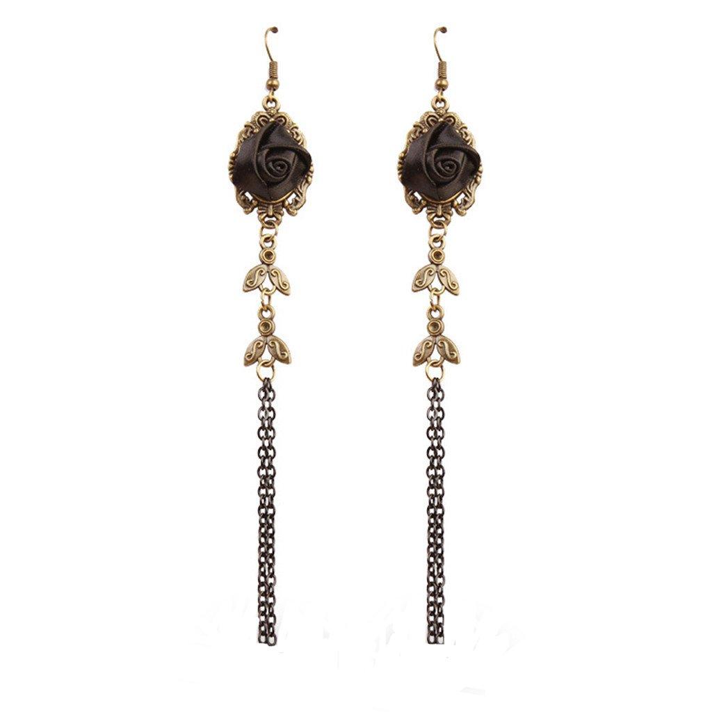 MagiDeal 1 Pair Fashion Jewellery Drop Dangling Rose Flower Earrings Long Tassel Party Decorations