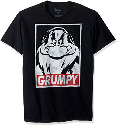 Disney Men's Snow White and Seven Dwarfs Grumpy Graphic T-Shirt, Black, XL