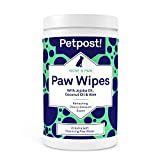 Petpost | Paw Wipes for Dogs - Nourishing, Revitalizing Dog Paw Cleaner with Coconut Oil, Jojoba Oil, and Aloe - 70 Ultra Soft Cotton Pads (Cherry Blossom)