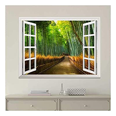 Modern White Window Looking Out Into a Road with Bamboo Trees on The Side - Wall Mural, Removable Sticker, Home Decor - 24x32 inches