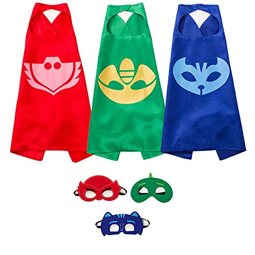 Superhero Girl Costumes Kids (Munfa Costumes and Dress up for Kids - Catboy Owlette Gekko Green Capes and Masks Superhero Capes for)