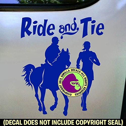 RIDE AND TIE Horse Runner and Rider Distance Vinyl Decal Sticker E