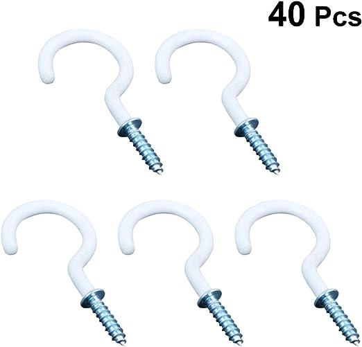 soporte para llaves con tornillos para colgar en el techo 10 ganchos con forma de marca de preguntas para Kicthen y la escuela. taza de escritorio color blanco