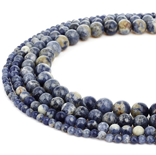 RUBYCA Wholesale Natural Brazil Sodalite Gemstone Round Loose Beads for Jewelry Making 1 Strand 4mm
