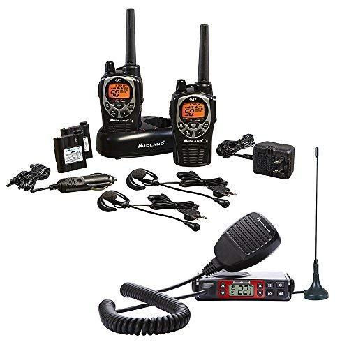 Midland - Xtreme Bundle - GXT1000, 50 Channel GMRS Two-Way Radio - Up to 36 Mile Range Walkie Talkie, 142 Privacy Codes & Waterproof (Pair Pack) (Black/Silver) & MicroMobile GMRS Radio