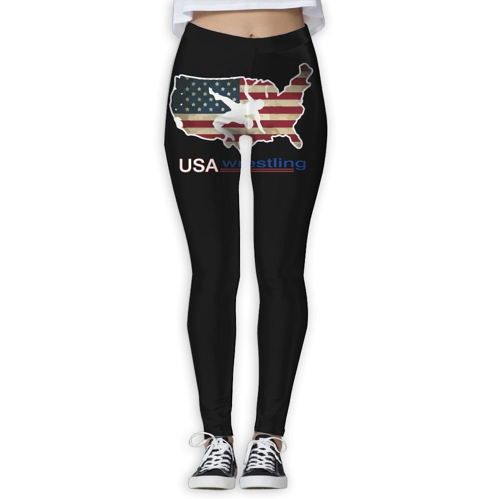 YJkuzi19 USA Wrestling Women's Power Flex Yoga Leggings Workout Running Leggings by YJkuzi19