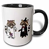 3dRose All Smiles Art Love - Funny Raccoon Bride and Groom Wedding Cartoon - 11oz Two-Tone Black Mug (mug_201777_4)